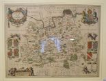 Lot 3 - Surrey. A tinted map, Surria Vernacule Surrey, 39.5 x 51 cm Centre fold