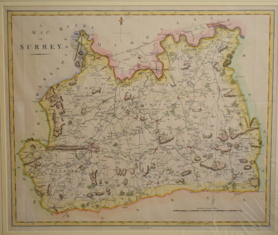 Lot 47 - Surrey. A Thomas Dix coloured map, A New Map of the County of Surrey, Divided into Hundreds, with