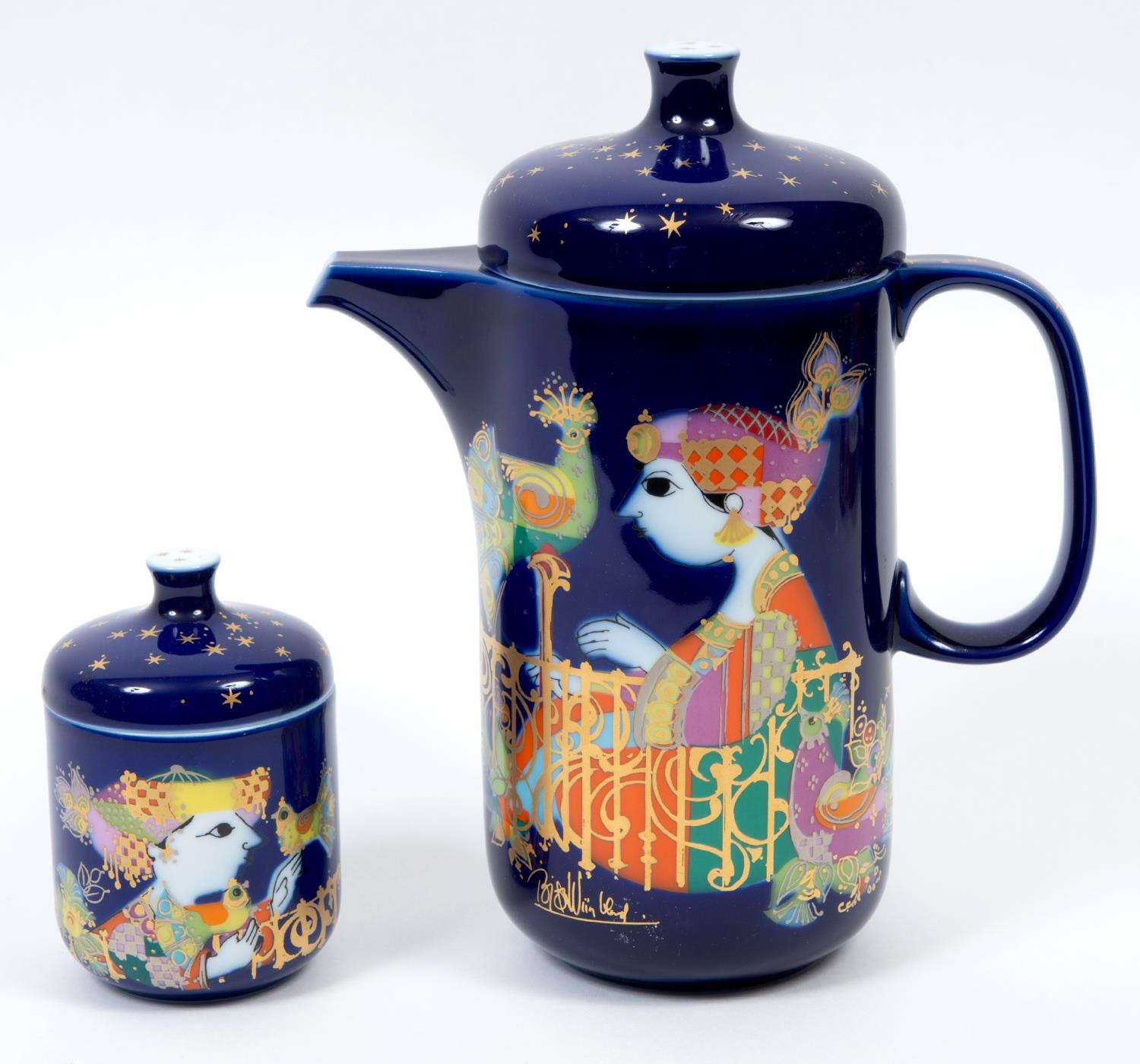 Lot 4 - A Rosenthal 1001 Nights pattern coffee set, designed by Bjorn Wiinblad, comprising a coffee pot