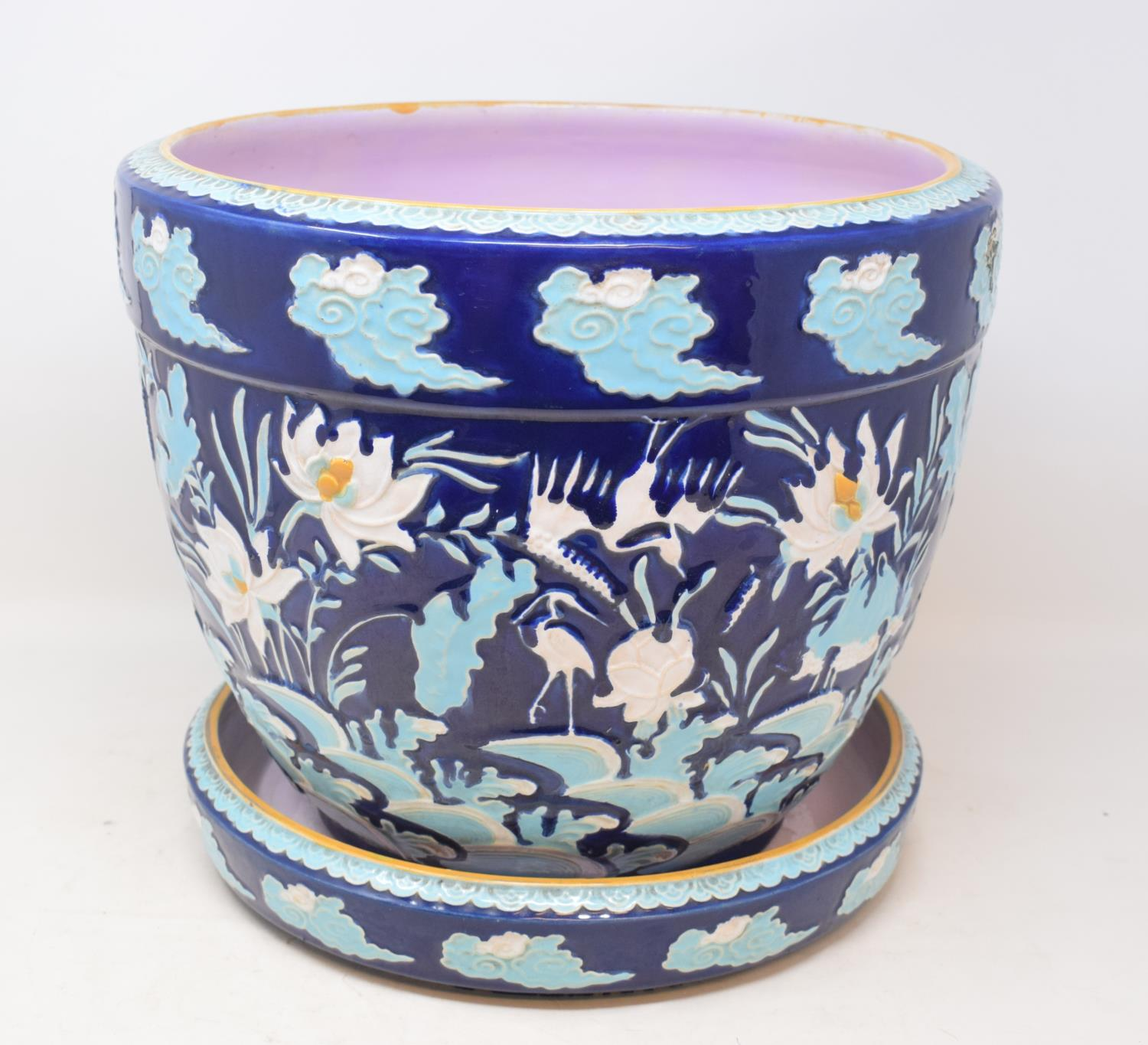 Lot 31 - A Victorian Minton majolica jardiniere on stand, with Japanese style decoration, slight damage, 28