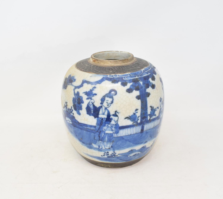 Lot 8 - A Japanese crackle glaze ginger jar, decorated figures and foliage in underglaze blue, 20.5 cm high