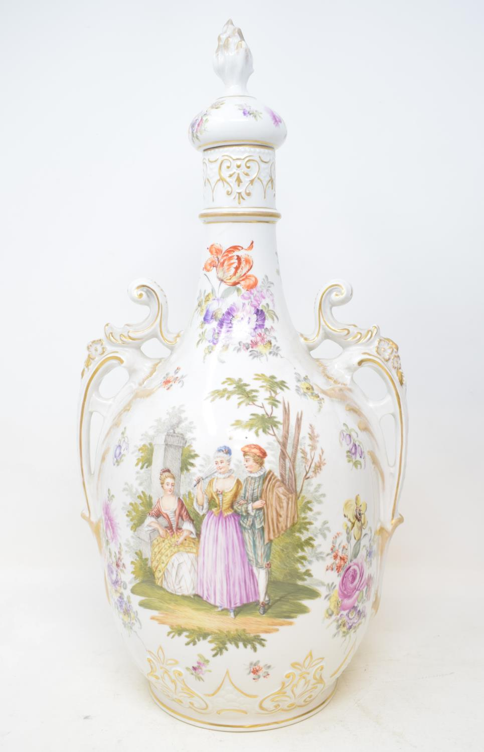 Lot 28 - A Limoges two handled vase and cover, decorated a courting scene and flowers, 43 cm high, and