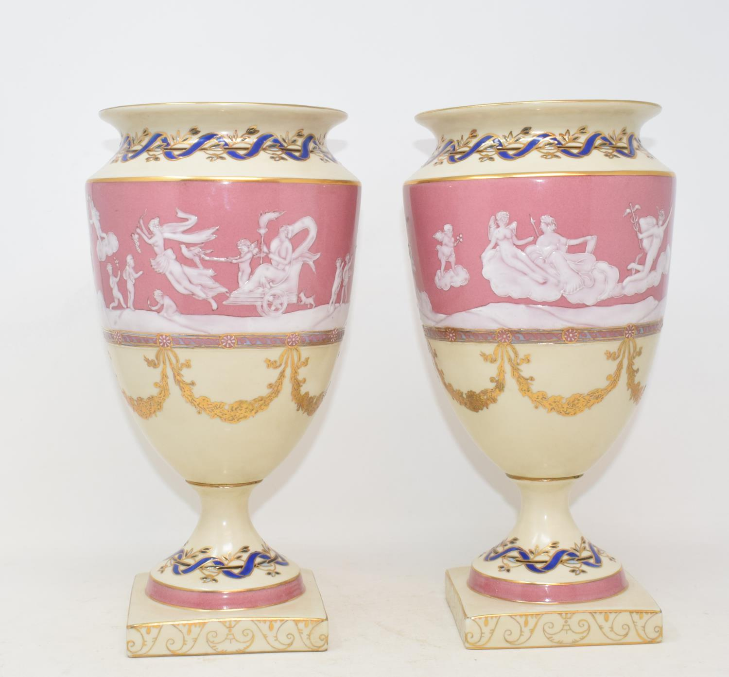 Lot 12 - A pair of pate-sur-pate type vases, decorated mythical figures, 29.5 cm high (2) Modern