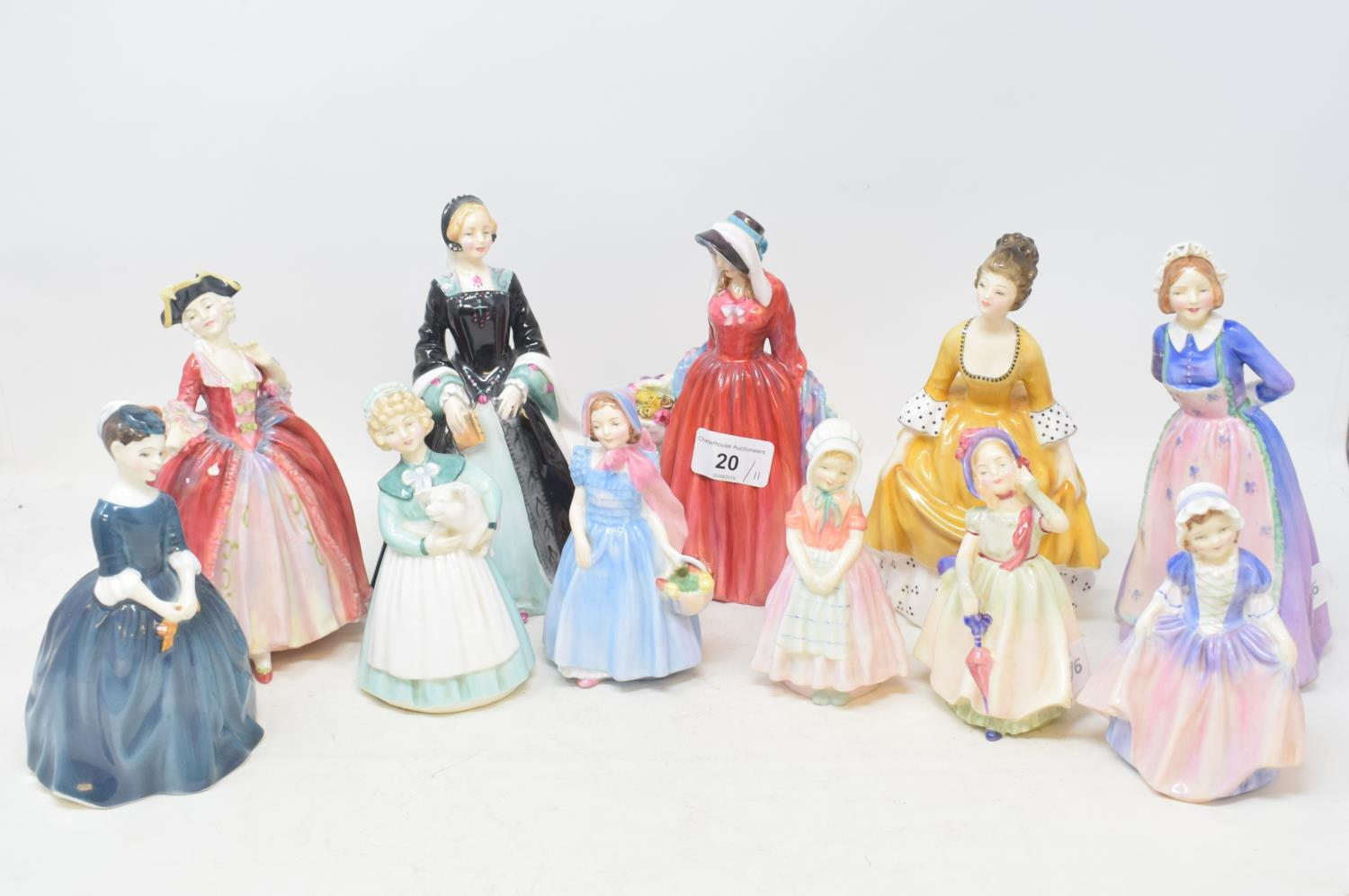 Lot 20 - A Royal Doulton figure, Camille, HN 1586, damaged, another, Rosemary, HN 2091, and nine others (11)
