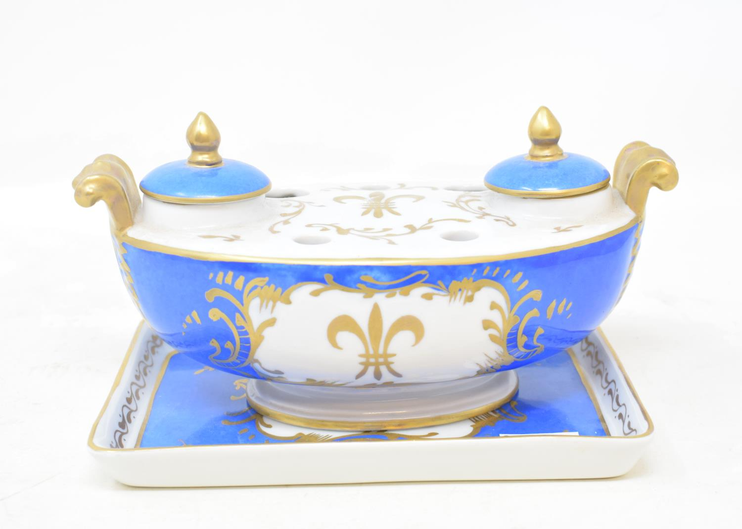 Lot 47 - A Limoges porcelain inkstand, with gilt decoration, 20 cm wide, other ceramics, glass, a Japanese