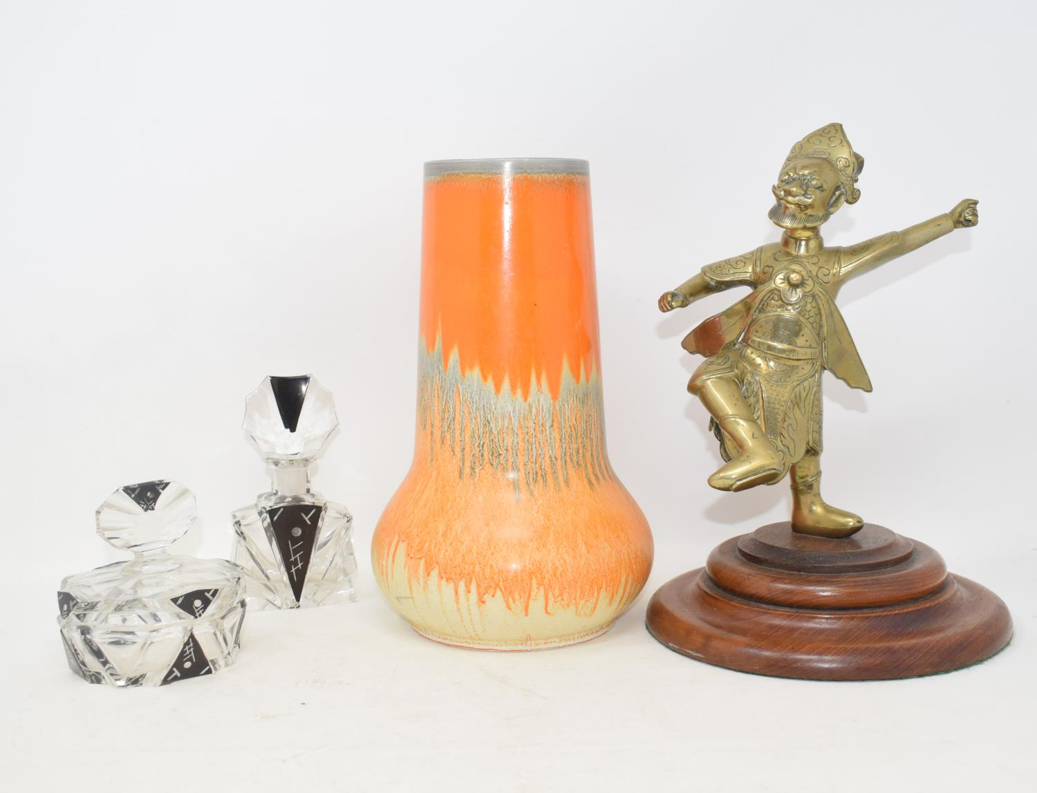 Lot 11 - A Shelley vase, 25 cm high, other ceramics, glass, an Indian brass figure and other items (box)