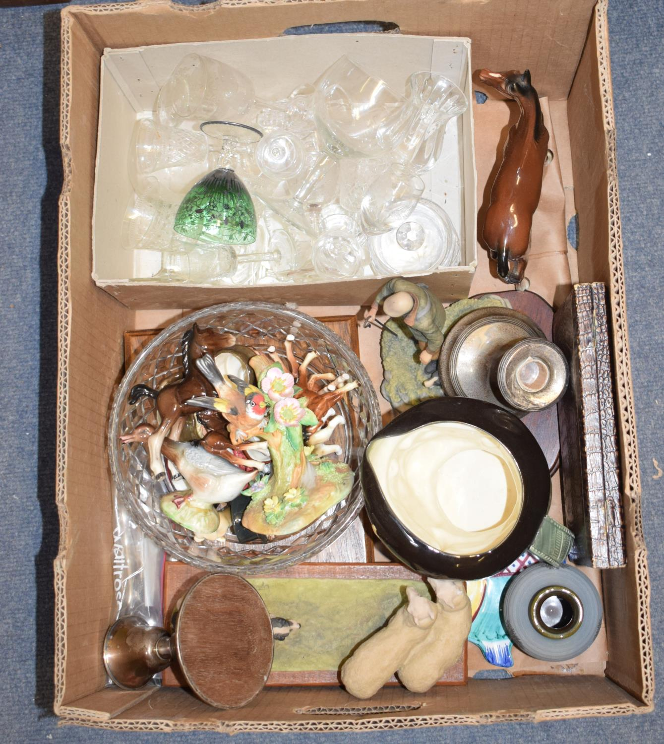 Lot 46 - A Beswick lioness, gloss, a pair of filled silver dwarf candlesticks, ceramics, glass and other