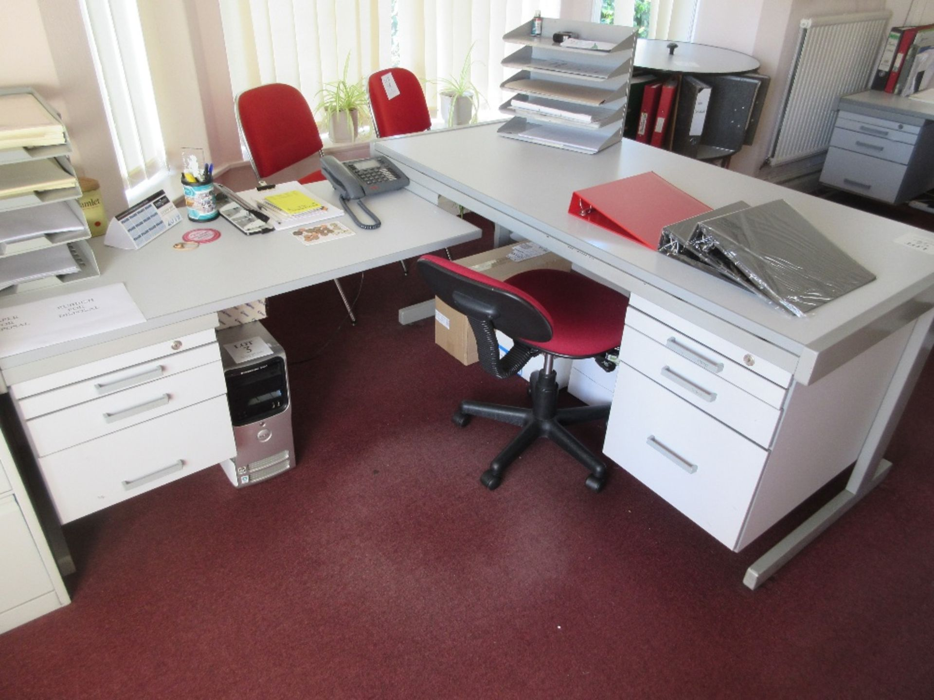 Lot 54 - Grey laminated single pedestal desk with return