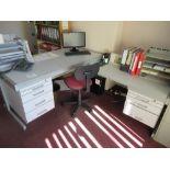 Lot 55 - Grey laminated single pedestal desk with return