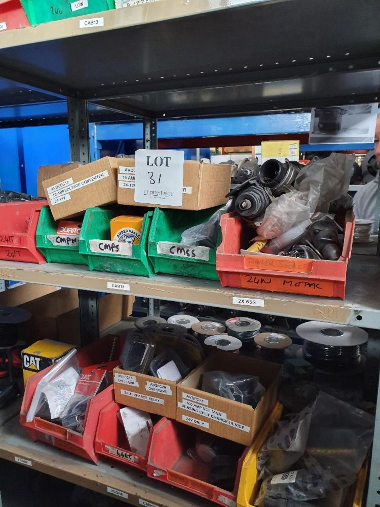 Lot 31 - Rack containing various trailer sockets and relays