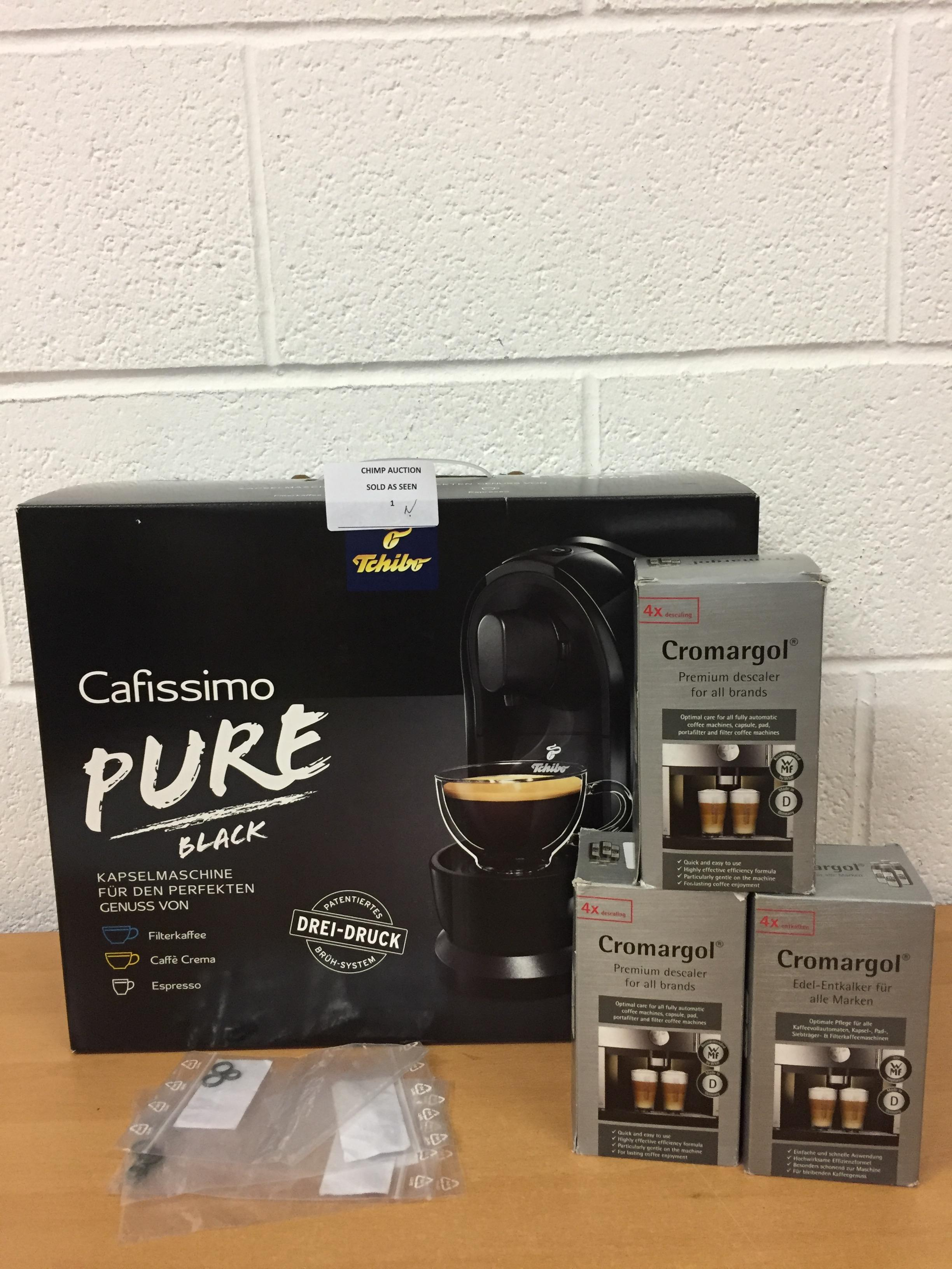 Lot 1 - Brand new Tchibo Cafissimo Pure Coffee Machine bundle RRP £229.99.