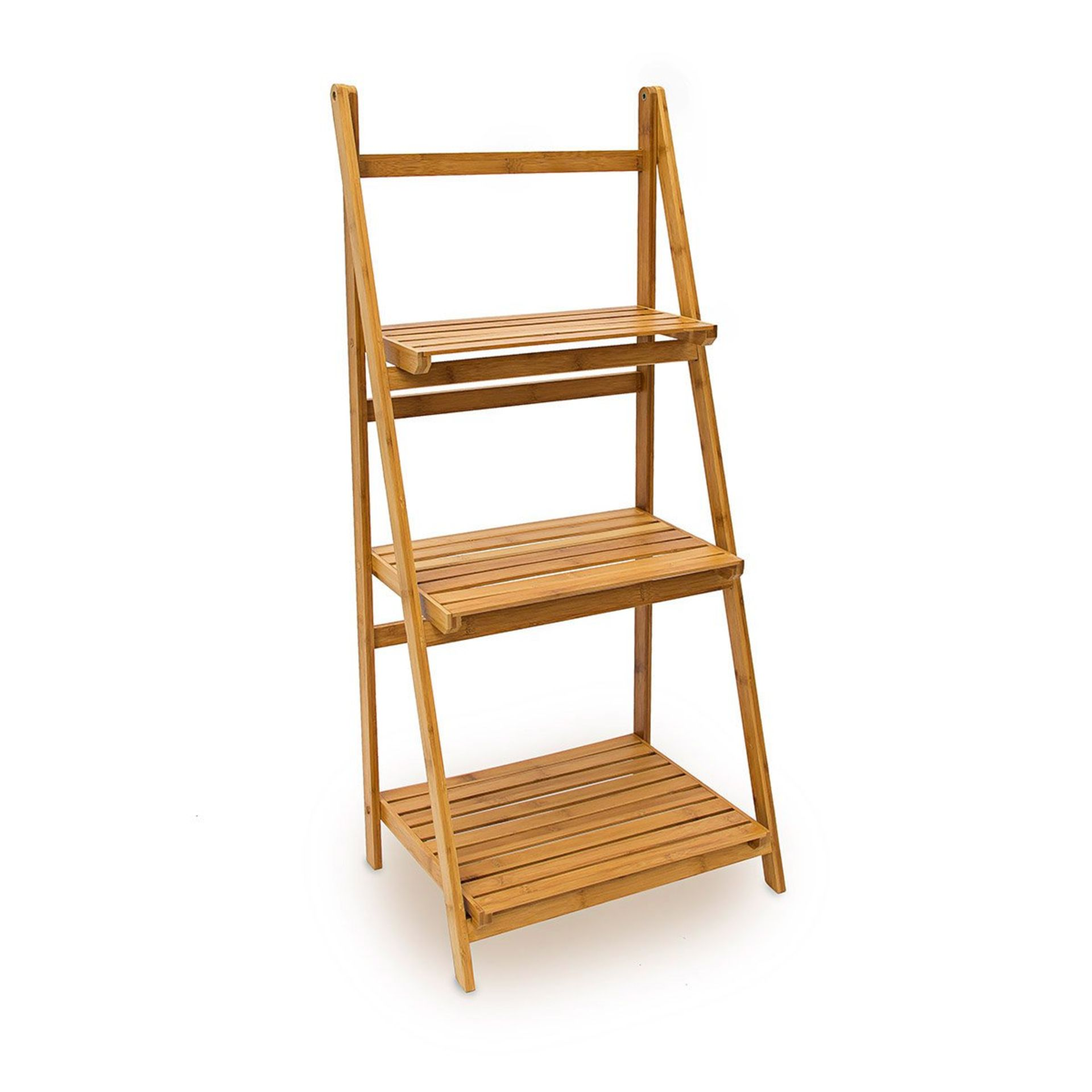 Lot 39 - Relaxdays Bamboo Ladder Rack with 3 Shelves