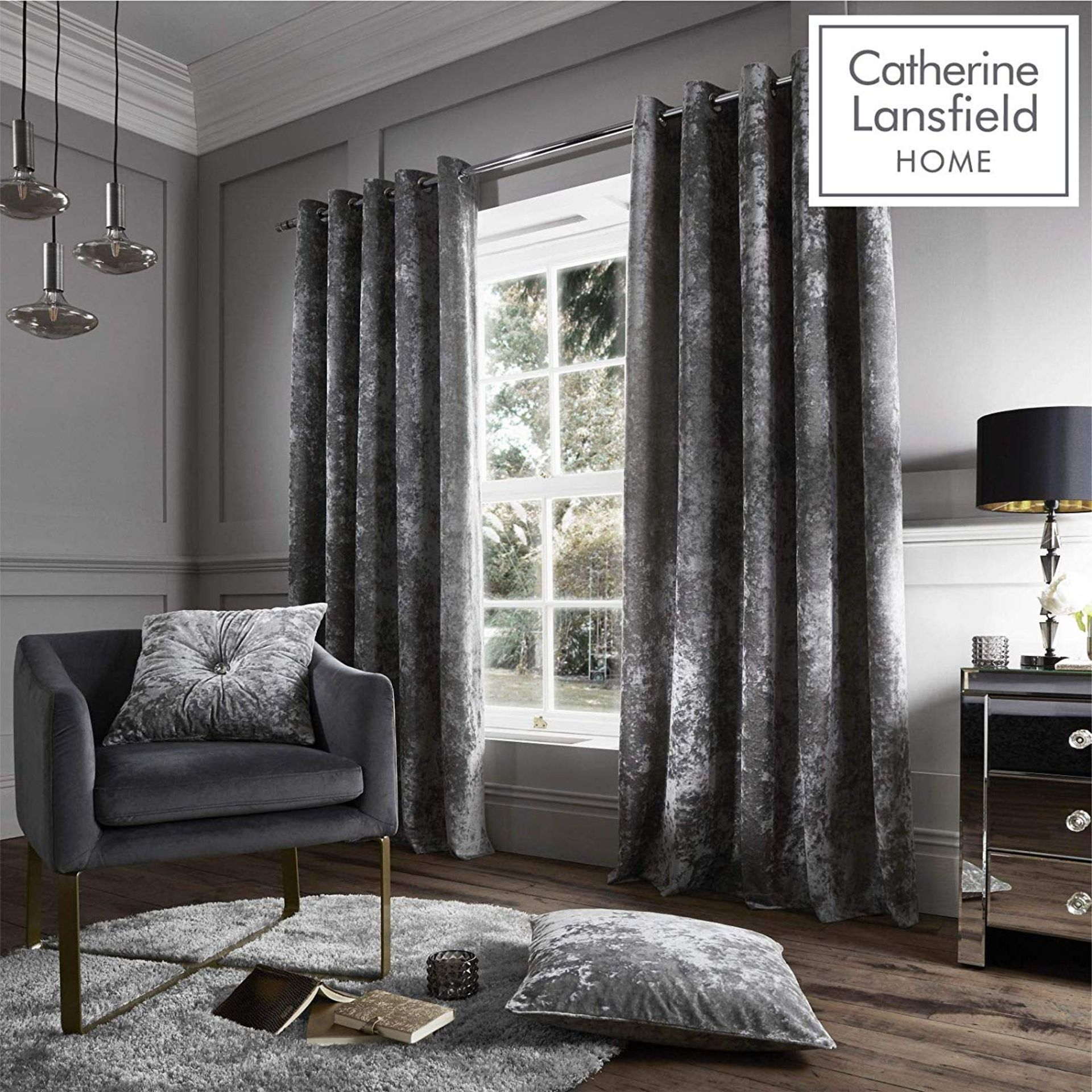 Lot 1 - Catherine Lansfield Crushed Velvet Eyelet Curtains Silver, 66x90 Inch RRP £69.99