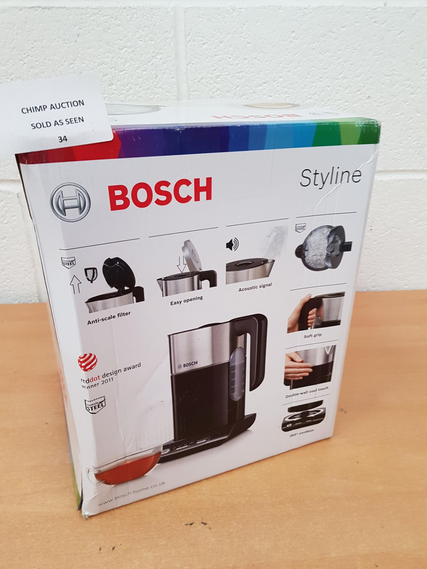 Lot 34 - Bosch TWK8633 Styline Collection Cordless Jug Kettle, 1.5 L RRP £69.99
