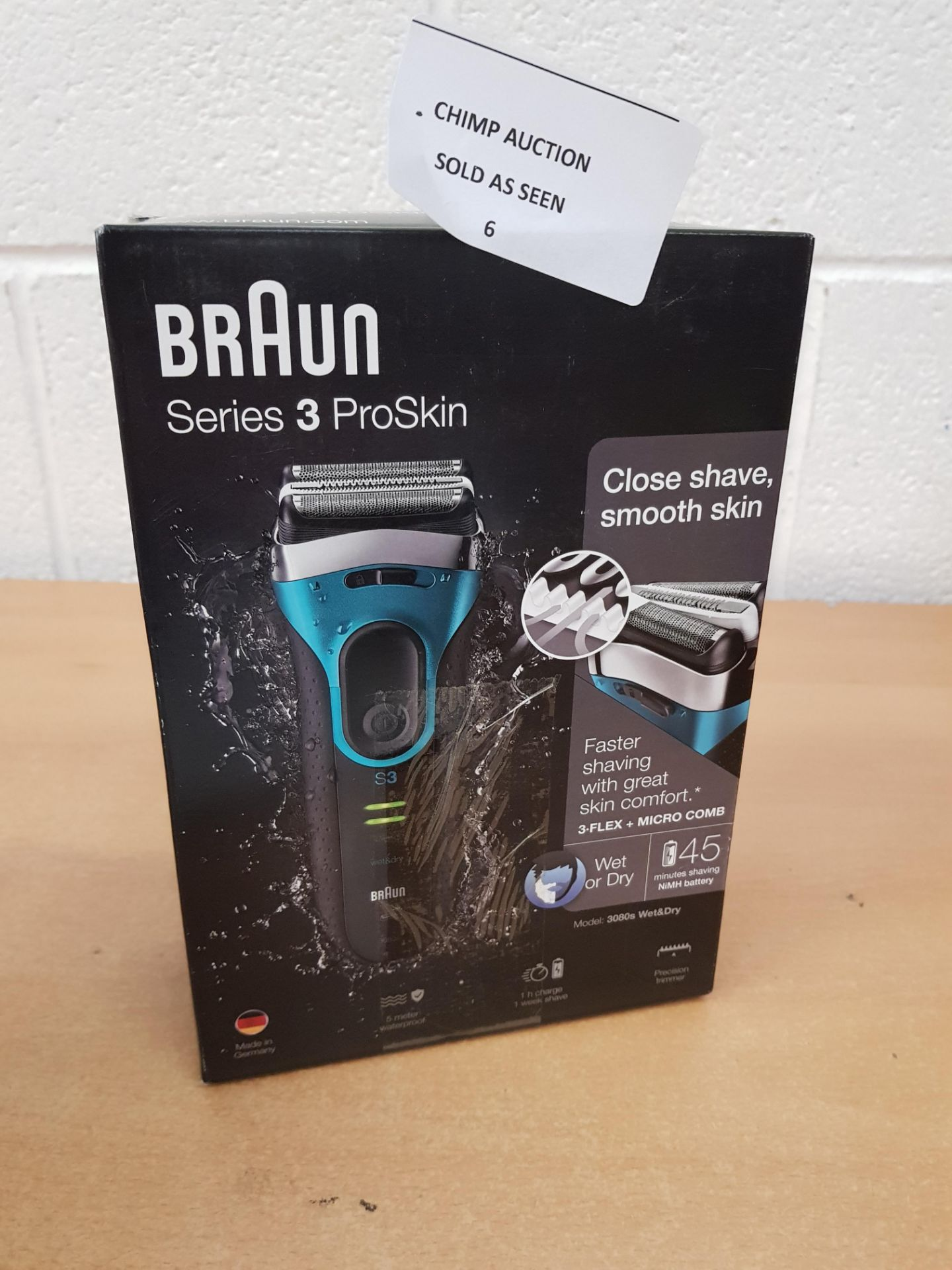Lot 6 - Braun Series 3 ProSkin 3080s Electric Shaver, Wet and Dry RRP £149.99.