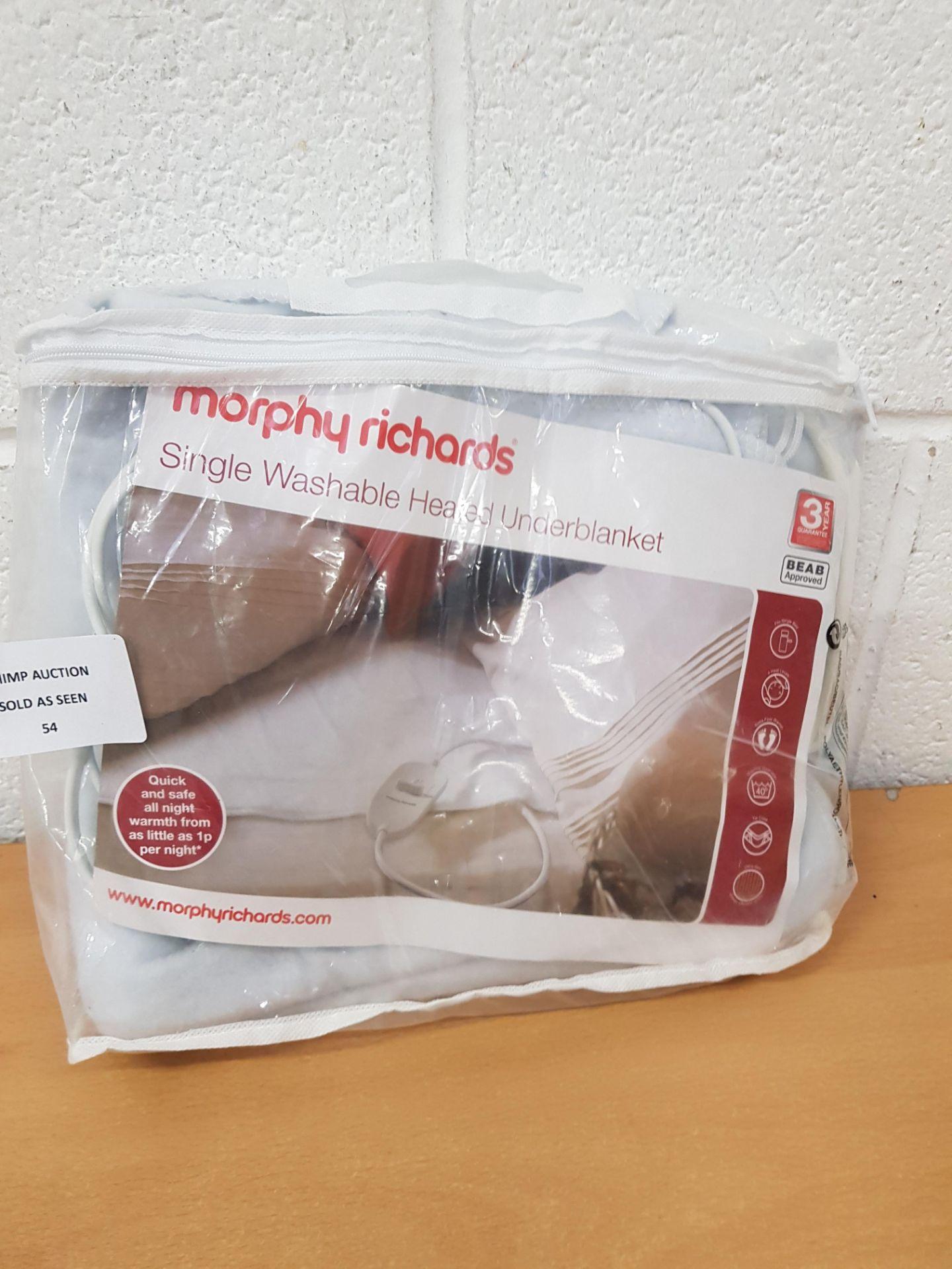 Lot 54 - Morphy Richards Single Washable Heated Underblanket