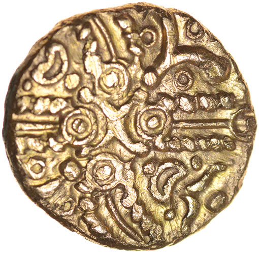 Lot 26 - Tasciovanos Hidden Faces. TASCIAVAN[ ]S Type. c.25BC-AD10. Celtic gold stater. 17mm. 5.39g.