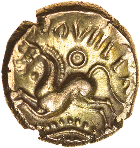 Lot 23 - Dubnovellaunos Branch. II Type. c.25-10 BC. Celtic gold stater. 17mm. 5.48g.