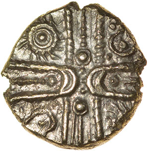 Lot 4 - Wonersh Whorls. c.50-40 BC. Celtic gold quarter stater. 10mm. 1.00g.