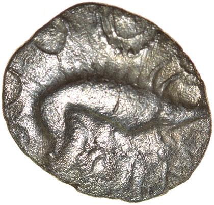 Lot 16 - W-Forelegs Proto Boar. Rich Type 16a. c.55-45 BC. Celtic silver unit. 14mm. 1.37g.