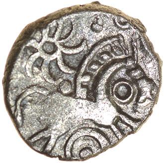 Lot 7 - Danebury Ladder Mane. c.55-45 BC. Celtic silver unit. 11mm. 0.72g.