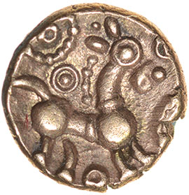 Lot 6 - Corded Crescents. c.55-45 BC. Celtic gold quarter stater. 9mm. 1.01g.