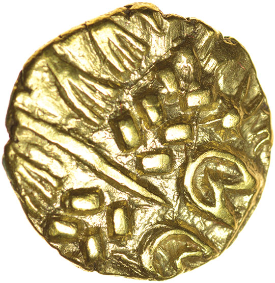 Lot 14 - North East Coast.Crude Type with Two Sun-Whorls. c.60-50 BC. Celtic gold stater. 18mm. 6.20g.