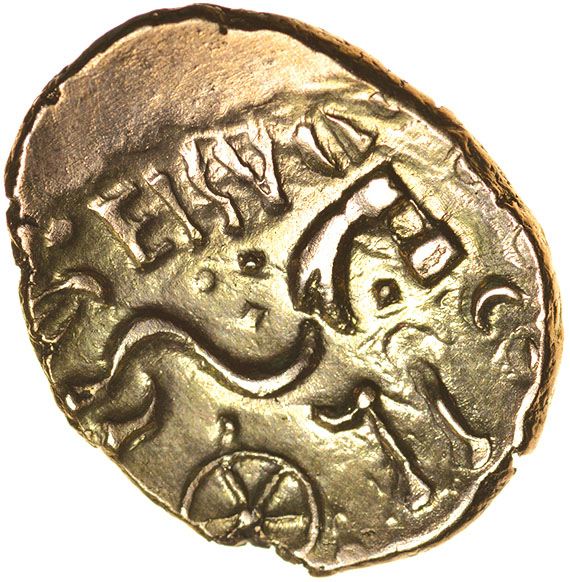 Lot 17 - Eisu Tree. c.AD 20-43? Celtic gold stater. 17-21mm. 5.32g.