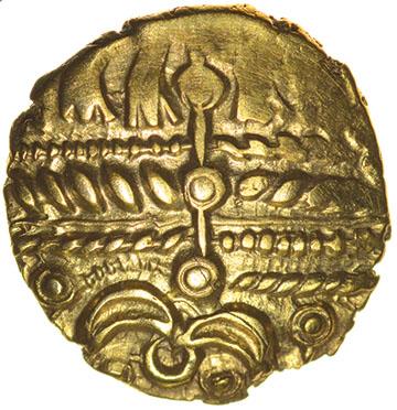 Lot 21 - Heybridge Triangle (formerly Heybridge Horse). c.50-40 BC. Celtic gold quarter stater. 12mm. 1.26g.