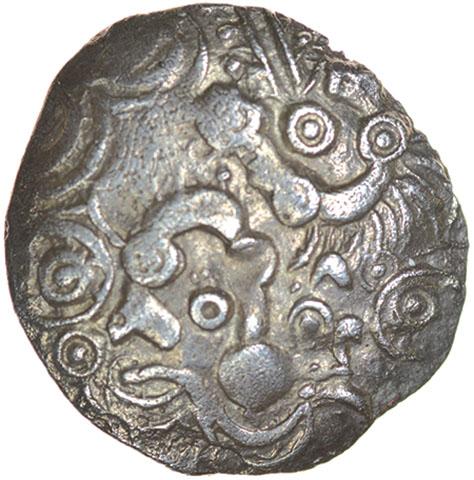 Lot 5 - Frost's Faces. c.55-45 BC. Celtic silver unit. 16mm. 1.12g.