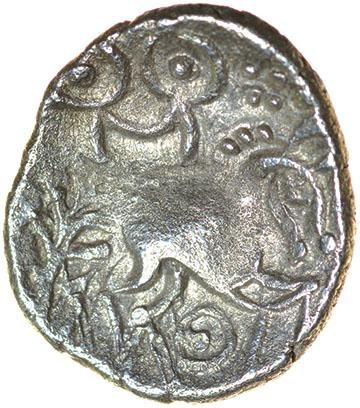Lot 12 - Freckenham Smiler. Talbot EBH unit, die-group 1. c.30-10 BC. Celtic silver unit. 12-14mm. 1.13g.
