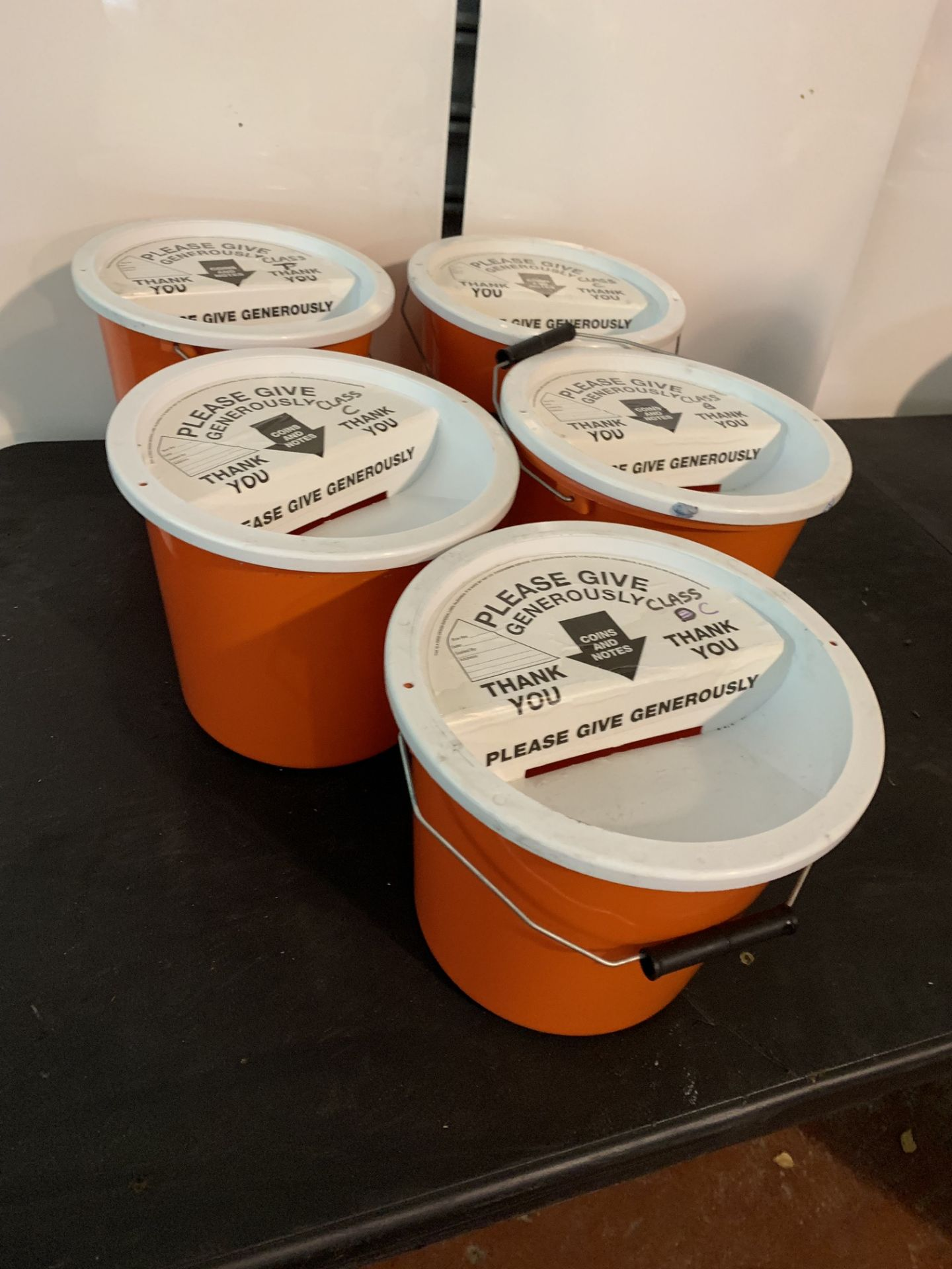 Lot 34 - 5 X CHARITY MONEY COLLECTING BUCKETS