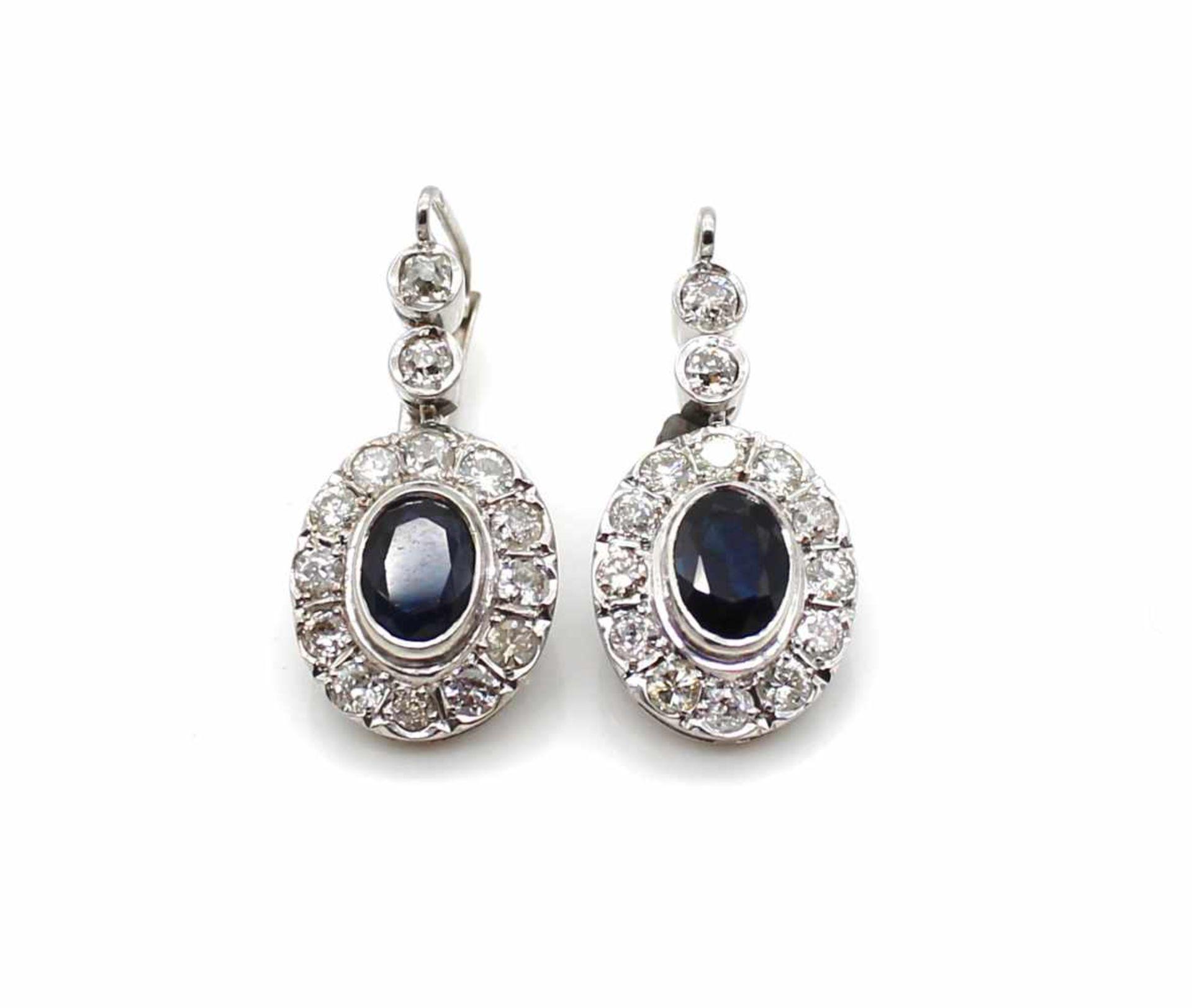 Los 3 - 1 Paar Ohrringe geprüft auf 585 Weißgold mit div. Diamanten und je einem Saphir, 6,8g