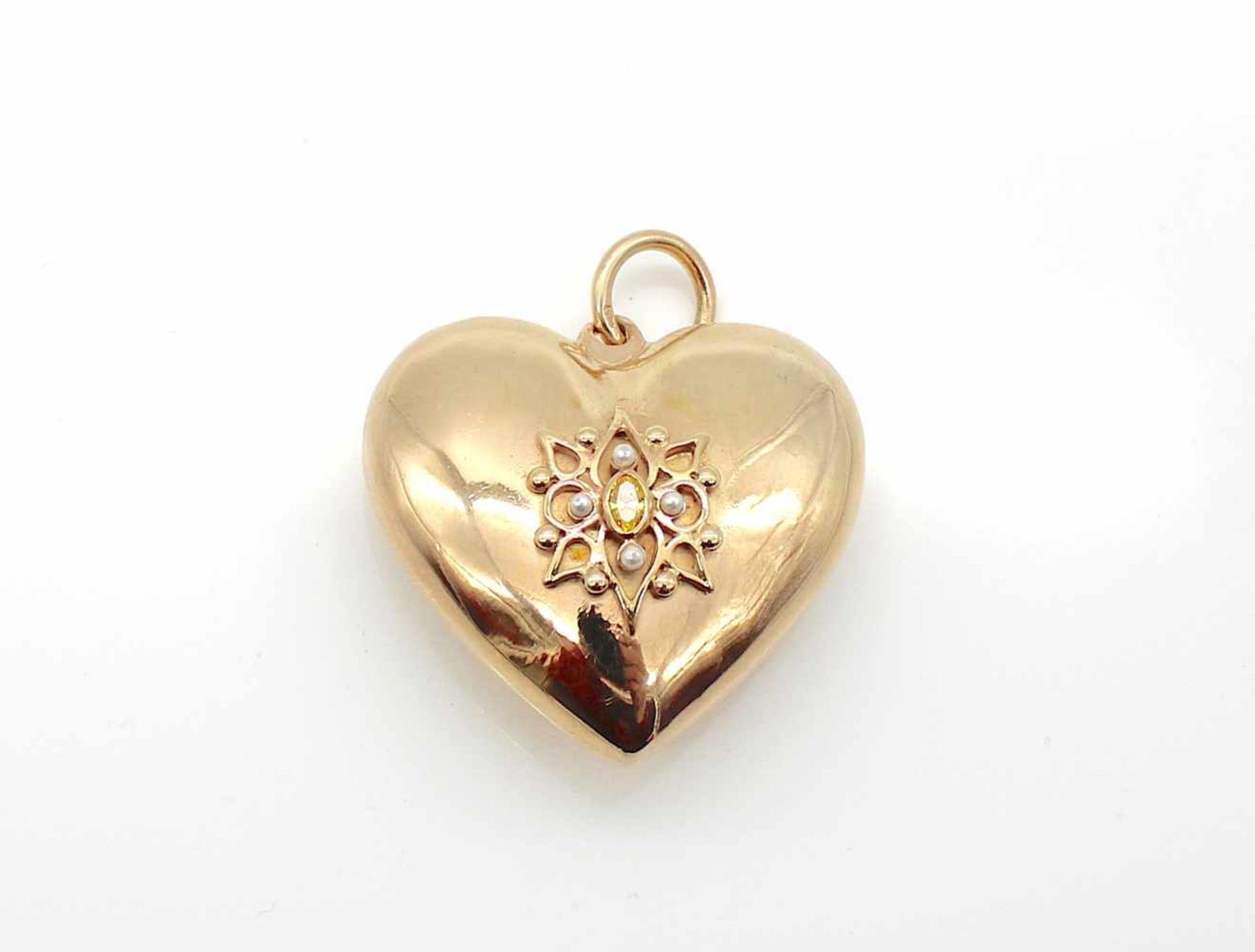 Los 57 - Herz 925er Silber vergoldet, kl Perlen und gelber Stein, 44,5 g