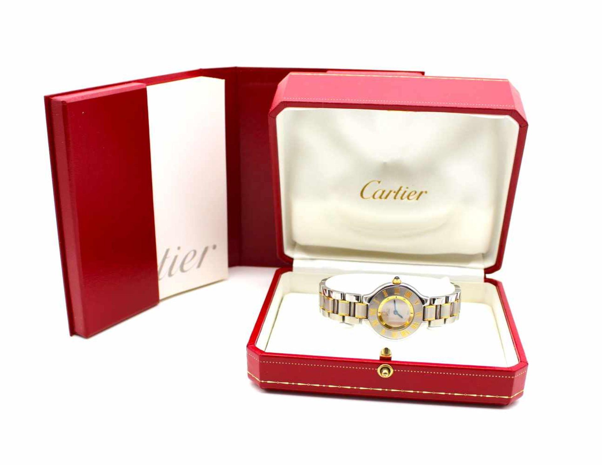 Los 17 - Cartier Damenarmbanduhr Stahl Gold Must de Cartier 21 mit Box