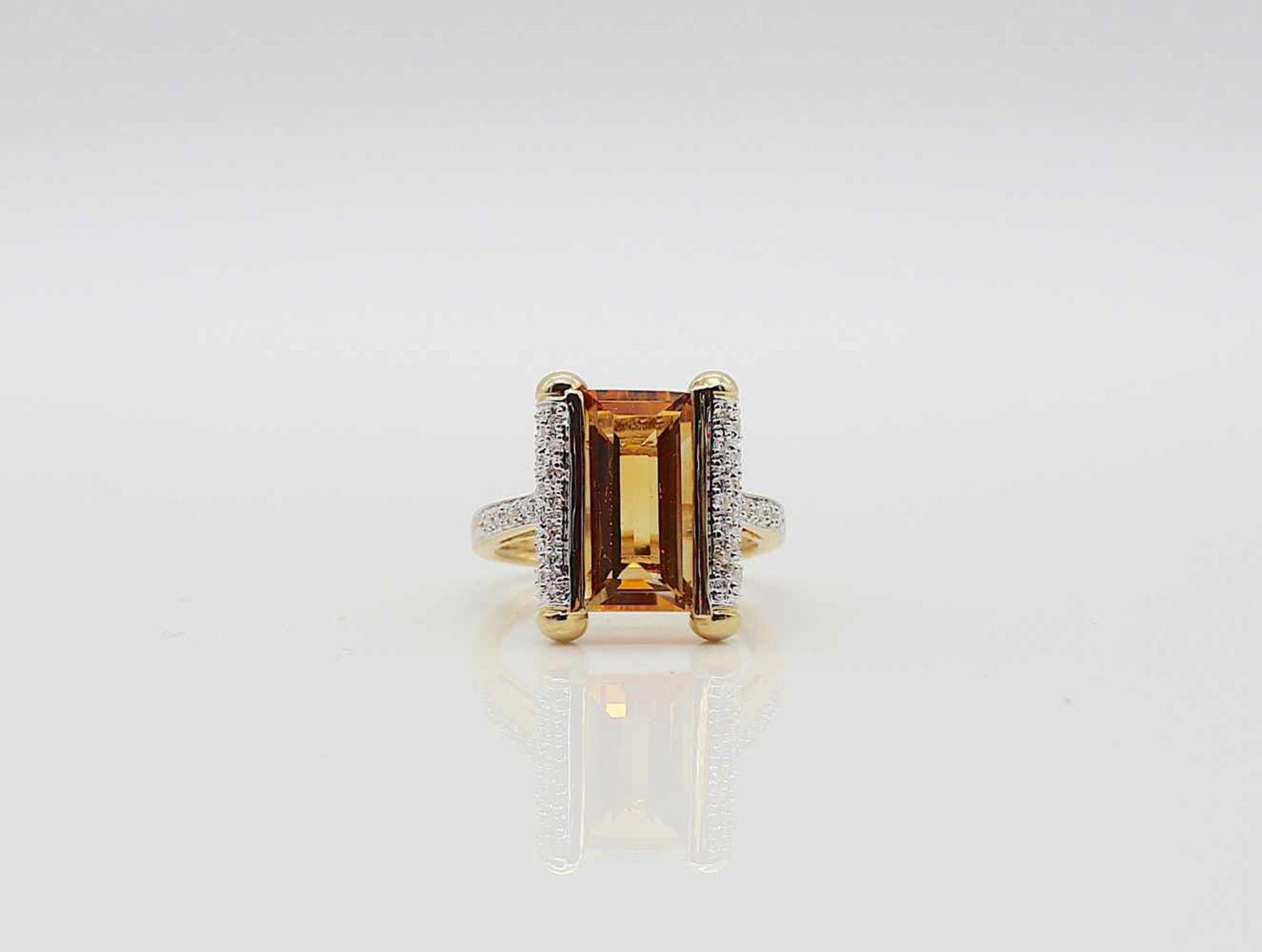 Los 22 - Ring ca. 585 Gold, 1 Citrin und kl. Diamanten, 4,4 g, Gr. 56