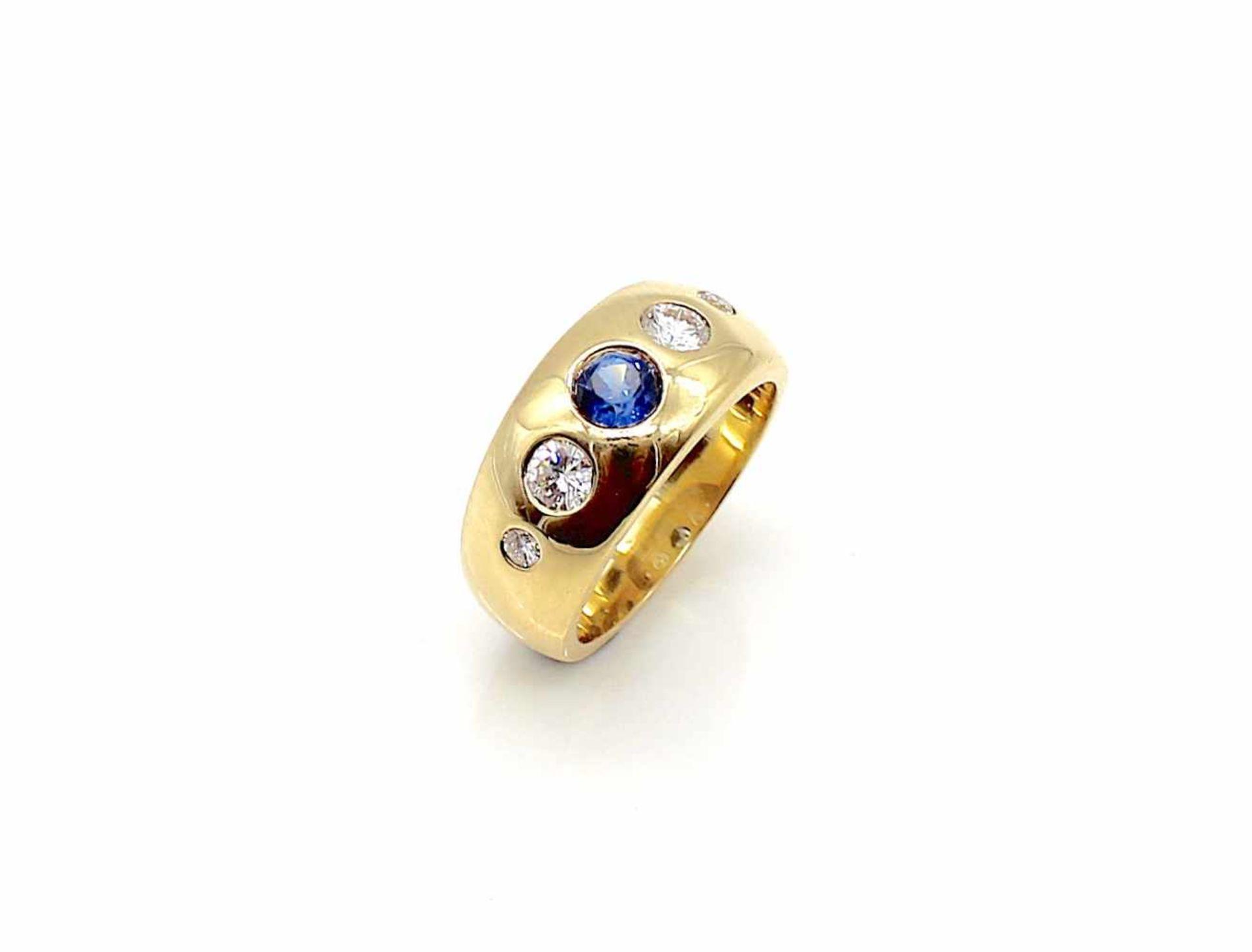 Los 47 - Ring 750 Gold Brillanten 2 x 0,25 ct und 2x 0,05 ct, hoher Farb- und mittlerer Reinheitsgrad und
