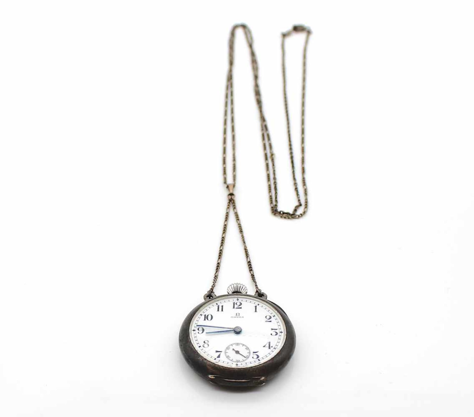 Los 54 - Taschenuhr Omega Silber mit Kette