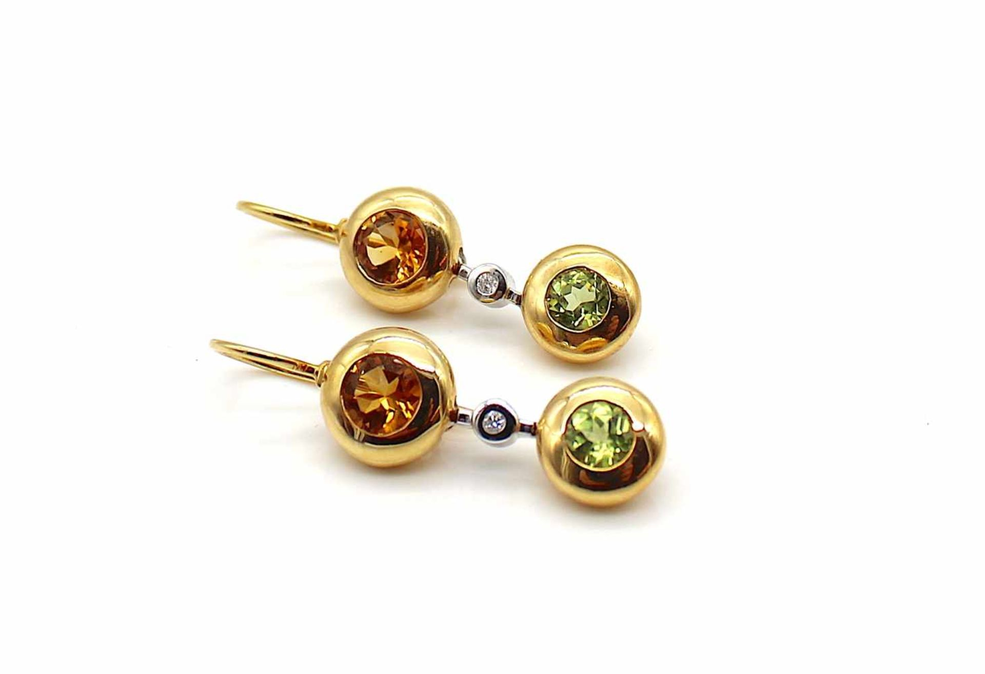 Los 21 - 1 Paar Ohrringe 750 Gold mit je einem Citrin Peridot und Brillant, 8,9 g