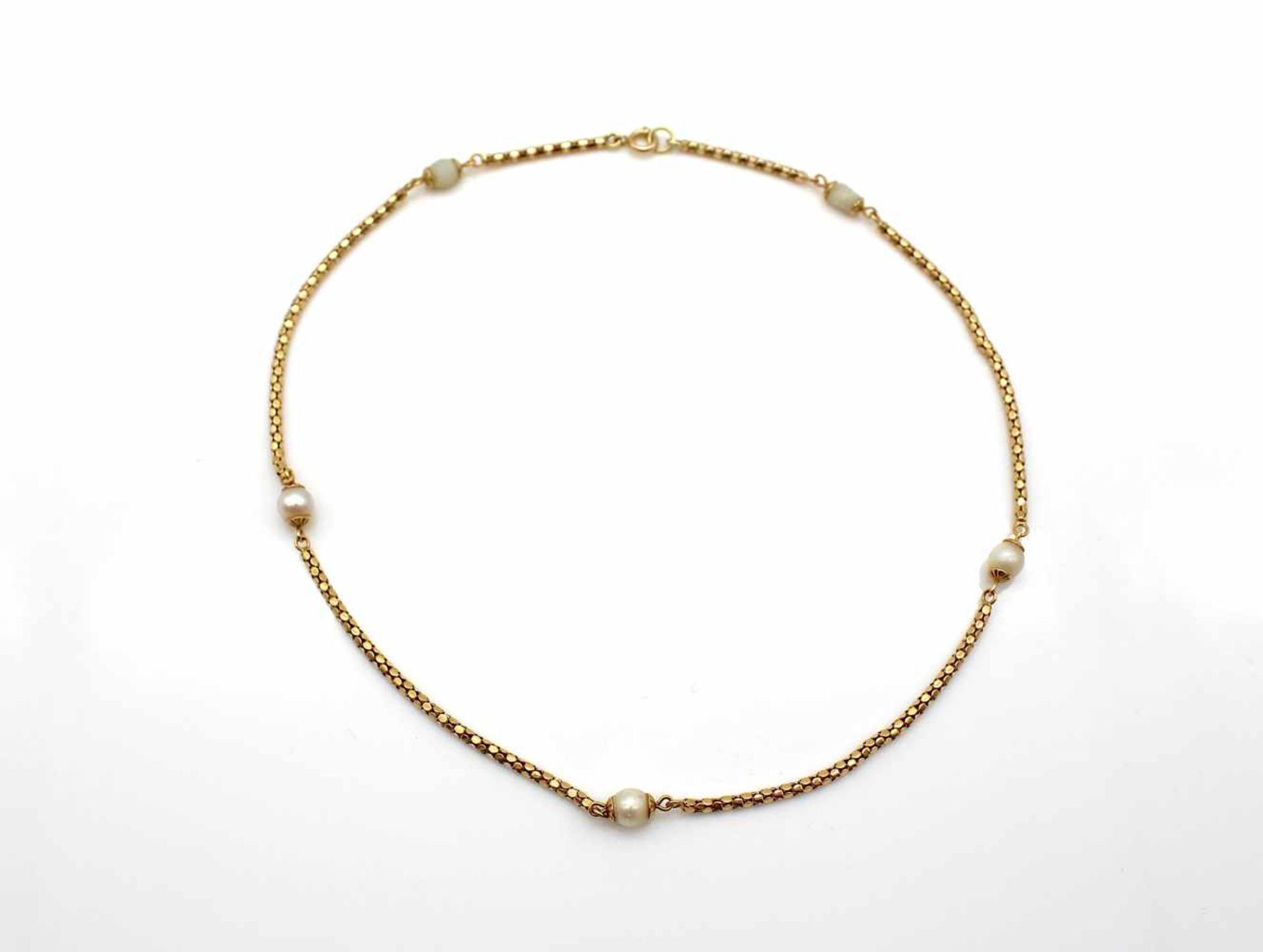 Los 27 - Kette 750 Gold mit kl. Zuchtperlen, 8,6 g, Länge 38 cm