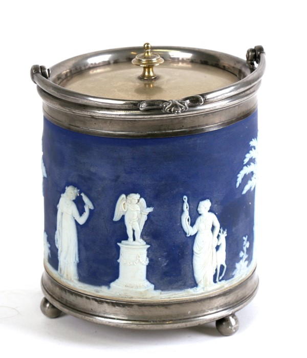 Lot 17 - A Wedgwood Jasperware biscuit barrel decorated with classical figures, with silver plated mounts,