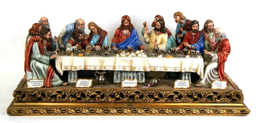 Lot 91 - A large Capodimonte porcelain figural group 'The Last Supper', after the Leonardo da Vinci fresco in
