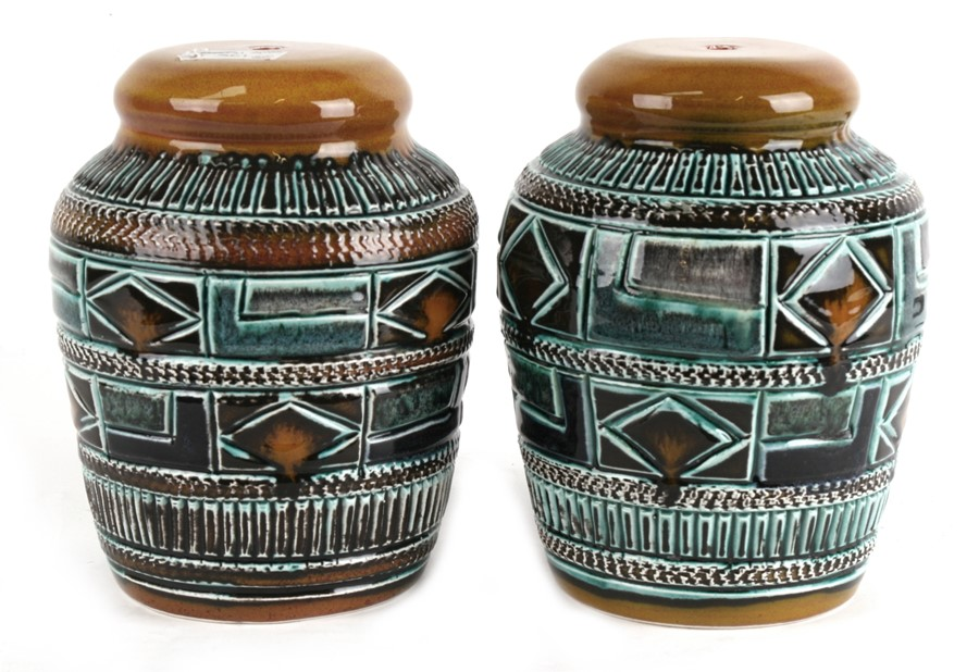 Lot 30 - A pair of mid 20th century Tradpots Pottery lamp bases, 21cms (8.25ins) high.