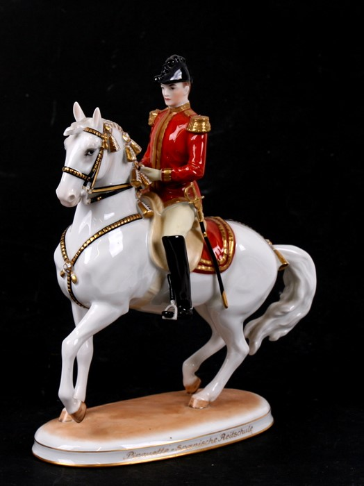 Lot 42 - A Vienna porcelain figure of a horseman, designed by Albin Dobrich, Wien, Austria - Horse Spanish