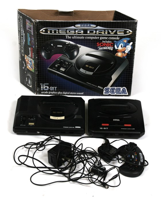 Lot 102 - A 16 bit Sega Mega Drive; together with a Sega Mega Drive II.