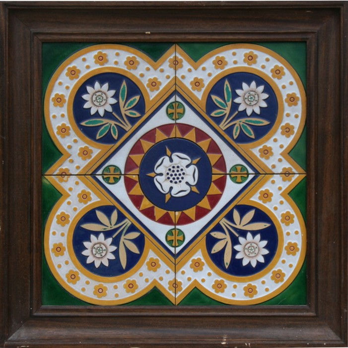 Lot 50 - A Minton majolica tile panel designed by A W N Pugin, each tile 22 by 2cms (8.5 by 8.5ins).