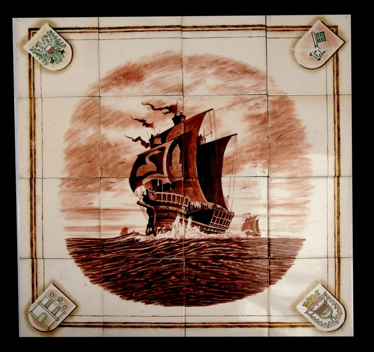 Lot 47 - A group of sixteen Meissen tiles depicting a three-masted galleon in rough seas, with Heraldic