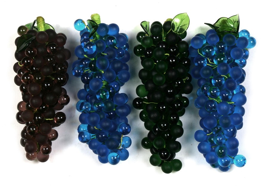 Lot 11 - Four bunches of Art glass grapes, each 21cms (8.25ins) long (4).