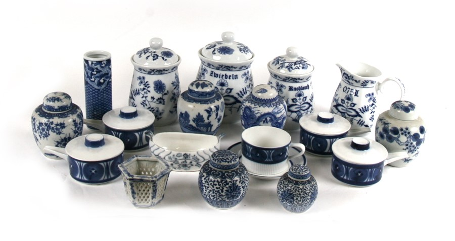 Lot 100 - A group of German blue & white kitchen storage containers; together with a quantity of 20th
