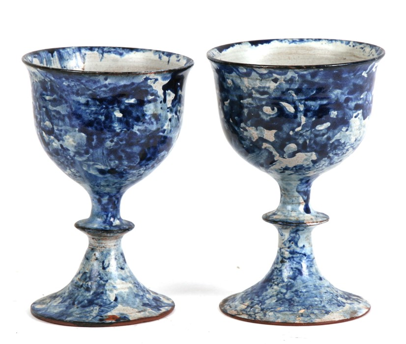 Lot 96 - Yolande Beer (b1958) - a pair of Studio pottery goblets, signed & dated '82 to underside, 12cms (4.